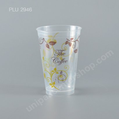 แก้ว น้ำดื่ม Rigid PP ใส 16 oz. ปาก 98 mm. ลาย The Coffee