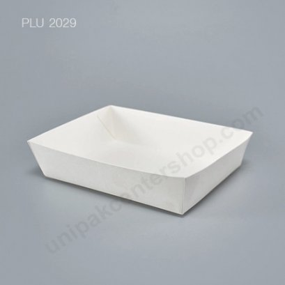 ถาดกระดาษใส่อาหารสีขาวเล็ก (TRAY-02) ขึ้นรูปเชื่อมด้วยความร้อน