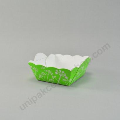 ถาดกระดาษอาหาร/ขนม สีเขียว