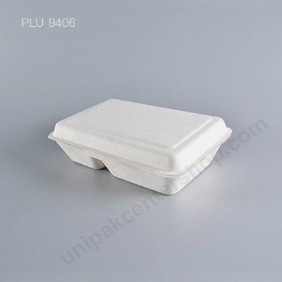 Bio เยื่อไผ่ กล่องอาหาร 2 ช่อง B002 - 1000ml