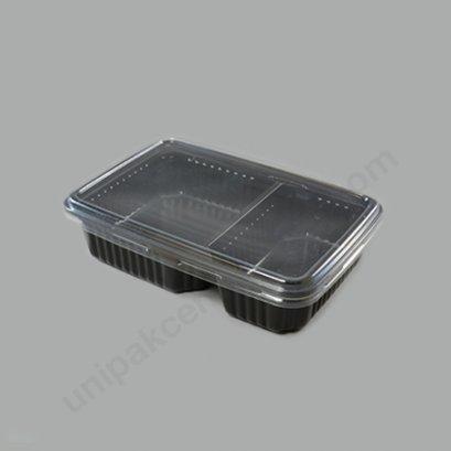 กล่องใส่อาหาร 2 ช่อง PPดำ+ฝาPET ตรา โรดดี้แพค