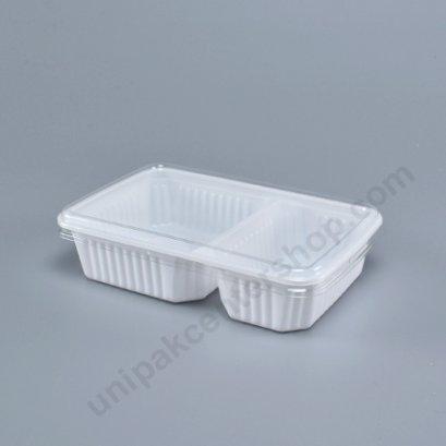 กล่องใส่อาหาร 2ช่อง PPขาว+ฝาPET ตรา โรดดี้แพค