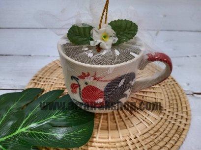 แก้วกาแฟไก่ห่อผ้าลูกไม้-ของชำร่วยงานศพ