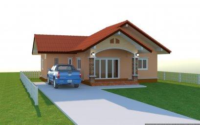 แบบบ้านชั้นเดียวหลังวคาจั่วเกษตรยั่งยืน ฺBluePrint-0094