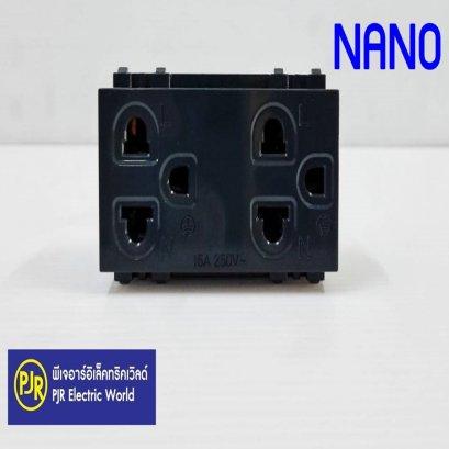 เต้ารับคู่ มีกราวน์ NANO 16A 250V, ขนาด 3 ช่อง สีดำ NN-P601B ปลั๊กกราวด์คู่