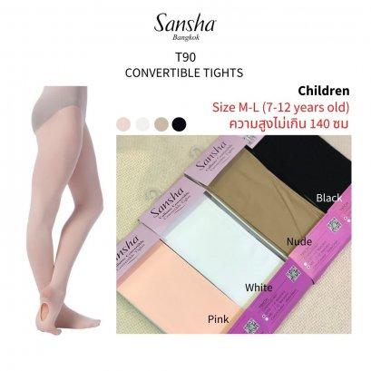 Sansha Convertible Tights ถุงน่อง ใส่เรียน-สอบแบบเจาะรูที่ฝ่าเท้า sizeM-L(7-12y)สูงไม่เกิน 139ซมT90