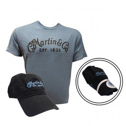 Martin Men's Logo T-Shirt + Hat, Lake/Black, Medium