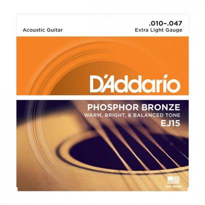 D'Addario EJ15 Phosphor Bronze Acoustic Extra Light 10-47