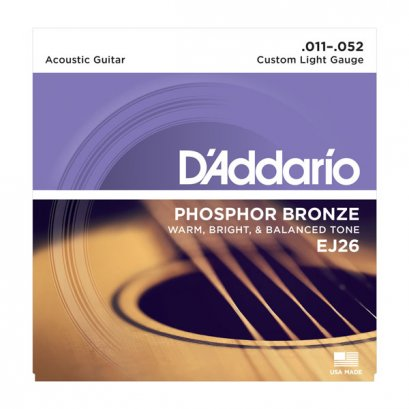 D'Addario EJ26 Phosphor Bronze Acoustic Custom Light 11-52