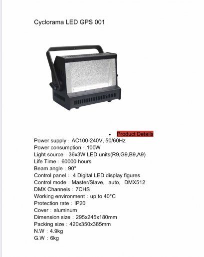 CYCLORAMA LED GPS001
