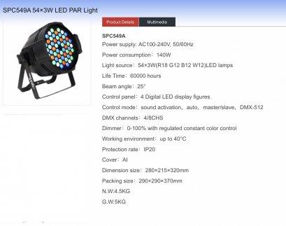 PAR LED 54x3w RGBW SPC549 A