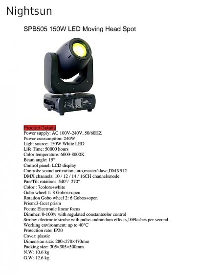 MOVING LED SPB505 150W