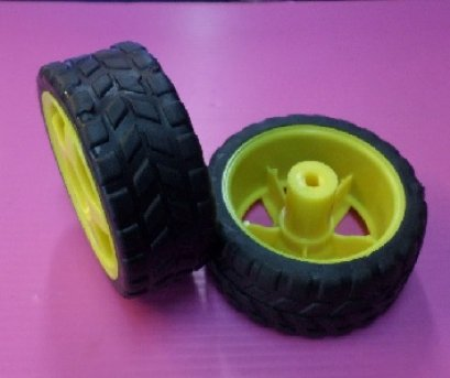 ล้อขนาด 2.5 นิ้ว สีเหลือง/สีแดง สำหรับใส่กับมอเตอร์เกียร์ BO (1ล้อ)