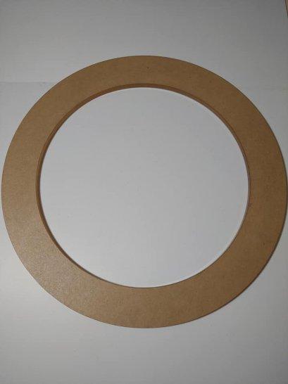 แผ่นอะคริลิคใส รูปวงกลม หนา 5 mm. เส้นผ่านศูนย์กลาง 24 cm. เจาะรูกลาง 18 cm.