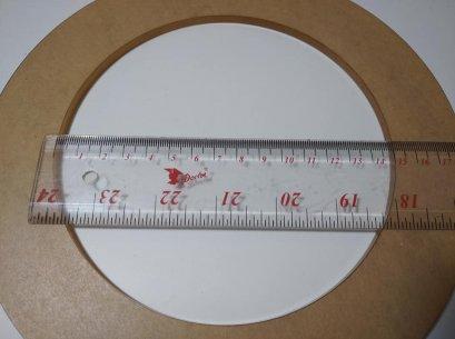แผ่นอะคริลิคใส รูปวงกลม หนา 5 mm. เจาะรูกลาง 15 cm. เส้นผ่านศูนย์กลาง 22 cm.
