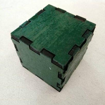 กล่องลูกบาศก์ ขนาด 4x4x4 cm สีเขียว