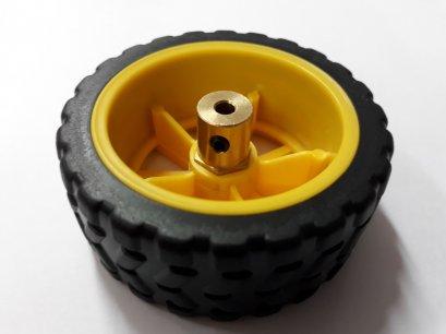 ล้อขนาด 2.5 นิ้ว สีเหลืองพร้อมข้อต่อล้อ 4mm สำหรับใส่กับมอเตอร์แกน 4 mm 1ล้อ