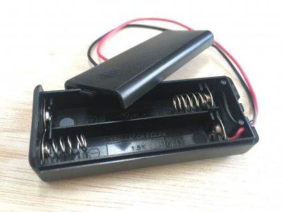 กระบะถ่าน ขนาด AAA 2 ก้อน มีฝาปิด พร้อมขั้วต่อกับ micro bit