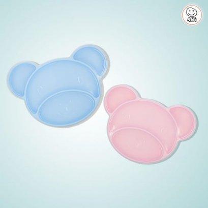 จานหมีพร้อมฝาปิด Silicone Divided Plate ANi