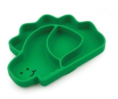 จานแบ่งช่องซิลิโคนแบบติดโต๊ะ ลายไดโนเสาร์ Bumkins Silicone Grip Dish