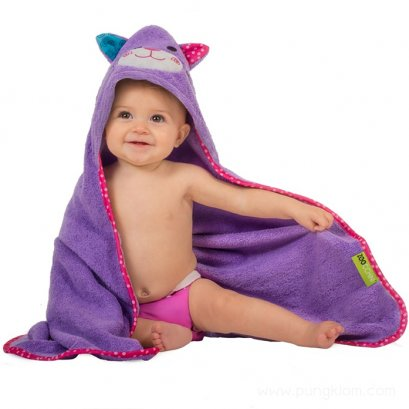 ผ้าขนหนูเช็ดตัวเด็กเล็ก+Hoodคลุมศีรษะ zoocchini