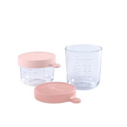 BEABA  Set of 2 conservation Jars in Glass (150 ml pink / 250 ml dark pink)