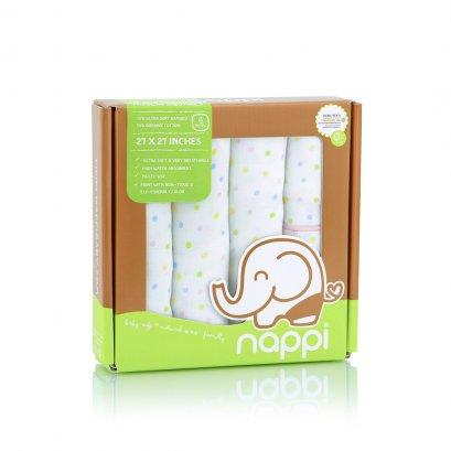"""Nappi Bamboo Muslin Squares - Polka Dot (Pink Trim) (27"""" x 27"""")"""