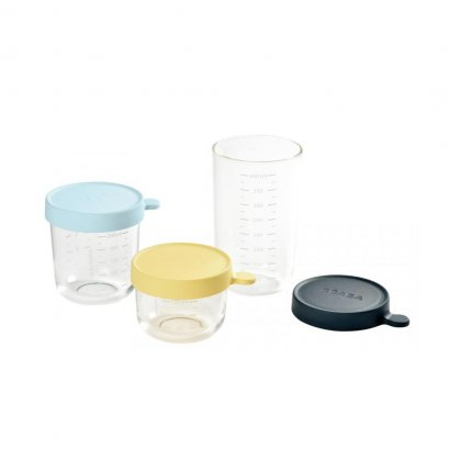 BEABA Set of 3 conservation Jars in Glass  (150 ml yellow / 250 ml light blue / 400 ml dark blue)