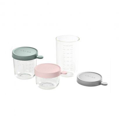 BEABA Set of 3 conservation Jars in Glass  (150 ml PINK / 250 ml EUCALYPTUS GREEN / 400 ml LIGHT GREY)