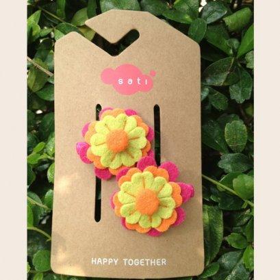 Sati กิ๊บติดผมเด็กหญิง Hairclip - LRR Little Flower / Light Green