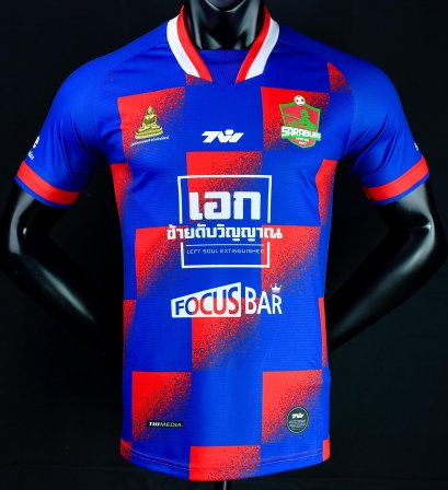 2021 Saraburi United Authentic Thailand Football Soccer League Jersey Shirt Blue/Red Player
