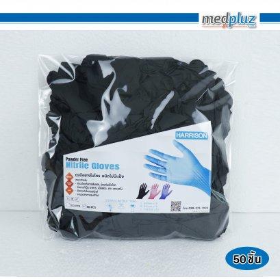ถุงมือยางไนไตร (ชนิดไม่มีแป้ง)  สีดำ ไซส์ M 100 ชิ้น/แพ็ค
