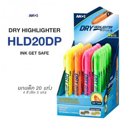 ปากกาเน้นข้อความ Amos Dry Highlighter 4 สี (ยกเซ็ต 20 ด้าม x สีละ 5 ด้าม)