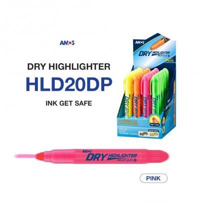 ปากกาเน้นข้อความ Amos Dry Highlighter (สีชมพู)