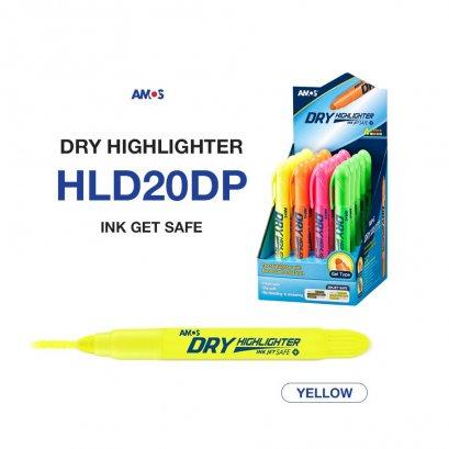 ปากกาเน้นข้อความ Amos Dry Highlighter (สีเหลือง)
