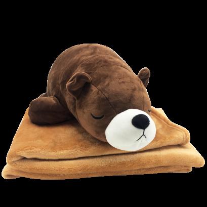 ตุ๊กตาหมีหมอนผ้าห่ม  หมีขั้วโลก หมีขี้เซา ขนาด 50 เซนติเมตร สีน้ำตาลเข้ม ทำจากเส้นใยไมโคร มีผ้าห่มด้านใน พร้อมส่ง