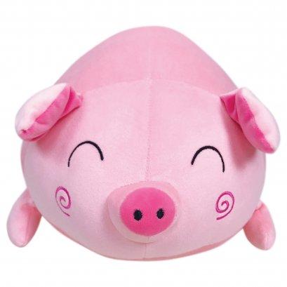 ตุ๊กตาหมูกลมหน้ายิ้ม นุ่มนิ่ม ขนาด 40 ซม. สีชมพู