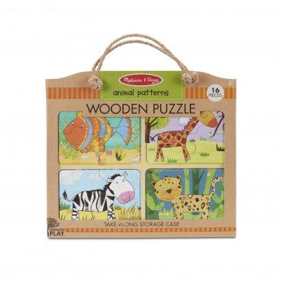 Melissa & Doug รุ่น 31362 Natural Play Wooden Puzzle: Animal Patterns จิ๊กซอ 4 ชิ้น 4 ลาย (16 ชิ้น ) รูปสัตว์ เสริมทักษะการบังคับมือกับสมอง และเรียนรู้