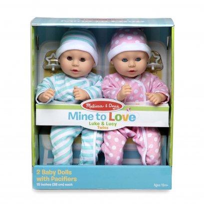 Melissa & Doug รุ่น 31711 Baby - Twins Luke & Lucy Dolls ชุดตุ๊กตาเบบี้ รุ่นชายและหญิง ส่งเสริมสร้างความสัมพันธ์ สร้างความอ่อนโยน