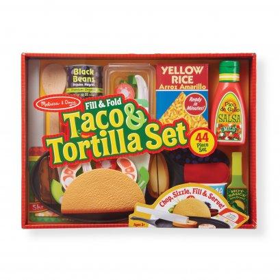[44ชิ้น] รุ่น 9370 ชุดทำทาโค่เม๊กซิกัน Melissa & Doug Fill & Fold Taco & Tortilla Set รีวิวดีใน Amazon USA ทุกชิ้นมีตีนตุ๊กแก อุปกรณ์ครบ  ของเล่น มาลิซ่า  3 - 6 ขวบ
