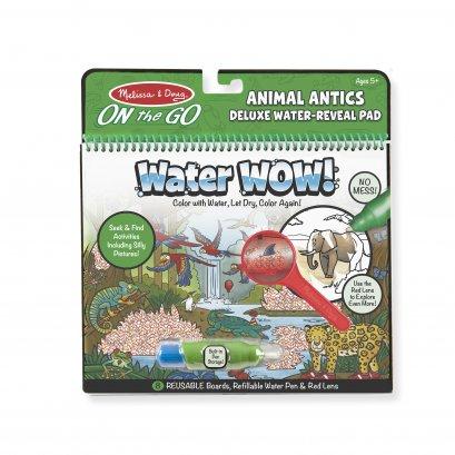 Melissa & Doug รุ่น 9463 Water Wow! Animal Antics Deluxe Water-Reveal Pad - On the Go Travel Activity สมุดระบายสีด้วยน้ำ รียูสซาเบิล ชุดสัตว์ รุ่นดีลักซ์ มาพร้อมแว่นขยาย ช่วยส่งเสริมความสนใจในด้านศิลปะ
