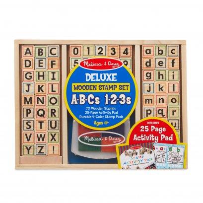 Melissa & Doug รุ่น 30118 Deluxe Wooden Stamp Set - ABCs 123s สแตมป์ตัวอักษร A-Z และตัวเลข ส่งเสริมการออกแบบ สร้างสรรค์งานศิลปะ