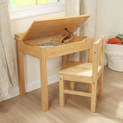 Melissa & Doug รุ่น 30230 Child's Lift-Top Desk & Chair - Honey ชุดโต๊ะและเก้าอี โต๊ะเปิดได้ ทำจากไม้อย่างดี ใช้สีไม้ธรรมชาติ