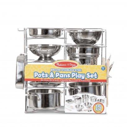 Melissa & Doug รุ่น 30340 Deluxe Stainless Steel Pots & Pans ชุดภาชนะในครัว รุ่นดีลักซ์