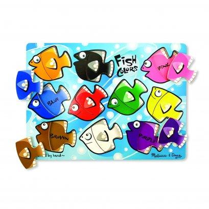 Melissa & Doug รุ่น 3268 Fish Colors Mix 'n Match Peg Puzzle - 10 pieces พัซเซิลแบบมีตุ่มจับ รุ่นสี ปลา ส่งเสริมพัฒนาการทางความคิด มือ สมอง