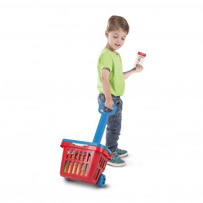 4073 ตะกร้าที่ปรับเป็นรถเข็นในตัวได้ ใช้เป็นตะกร้าหิ้วก็ได้ สวมบทบาทช้อปปิ้ง หรือ ขายของ ส่งเสริมการเล่นกับผู้อื่น เล่นสวมบทบามแบบมีจินตนาการ ส่งเสริมการสังเกตสิ่งรอบข้าง Fill & Roll Grocery Basket Play Set