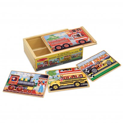 3794 Vehicles Jigsaw Puzzles in a Box จิ๊กซอไม้ 4-in-1 สี่แบบในกล่องเดียว พร้อมกล่องเก็บอย่างดี
