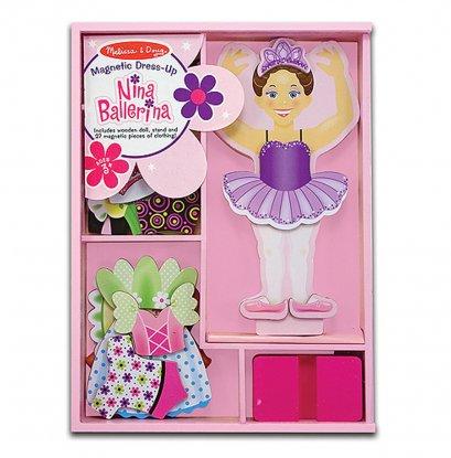 Melissa & Doug รุ่น 3554  Magnetic Dress Up Nina ชุดเล่นแต่งตัวแบบแม่เหล็ก มาพร้อมฐานตั้ง และตุ๊กตา 1 ตัว
