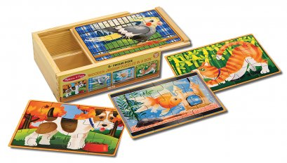 Melissa & Doug รุ่น 3790 4-in-1 Puzzle in a Box Pets ชุดพัซเซิล 12 ชิ้น 4 ลายในชุด รุ่นสัตว์เลี้ยง พัฒนาการครบด้าน สุดคุ้ม
