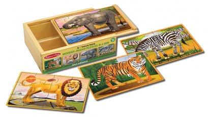 Melissa &Doug รุ่น 3796 4-in-1 Puzzles in a Box Wild Animals ชุดจิ๊กซอไม้ 12 ชิ้น 4 ลายในชุด เสริมพัฒนาการรอบด้าน ชุดสุดคุ้ม